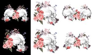 红色手绘花朵与骷髅头创意矢量素材