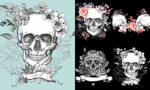 手绘花朵点缀的骷髅头创意矢量素材