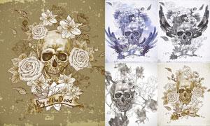 水彩手绘玫瑰花朵与骷髅头矢量素材