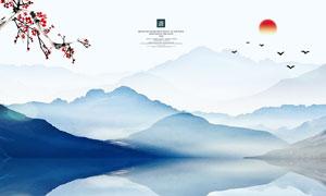 中国风水墨风山水画设计PSD源文件