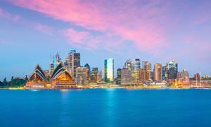 悉尼歌剧院的黄昏风光摄影高清图片