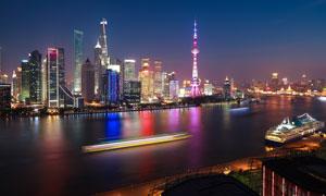 浦江两岸夜晚城市风光摄影高清图片