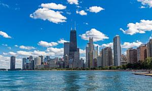 湖边的芝加哥城市建筑摄影高清图片