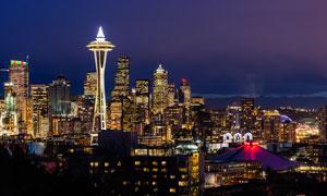 西雅图的太空针塔夜景摄影高清图片