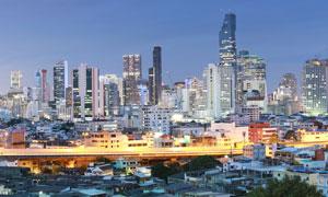 黄昏泰国曼谷城市鸟瞰摄影高清图片