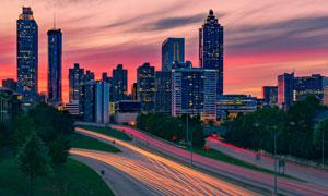 黄昏城市建筑风光景观摄影高清图片