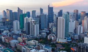 大城市建筑物黄昏鸟瞰风光高清图片