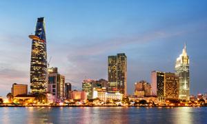 越南胡志明市夜景风光摄影高清图片