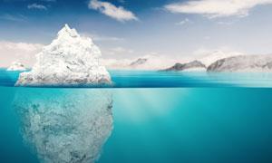 倒影在海上的冰山风光摄影高清图片