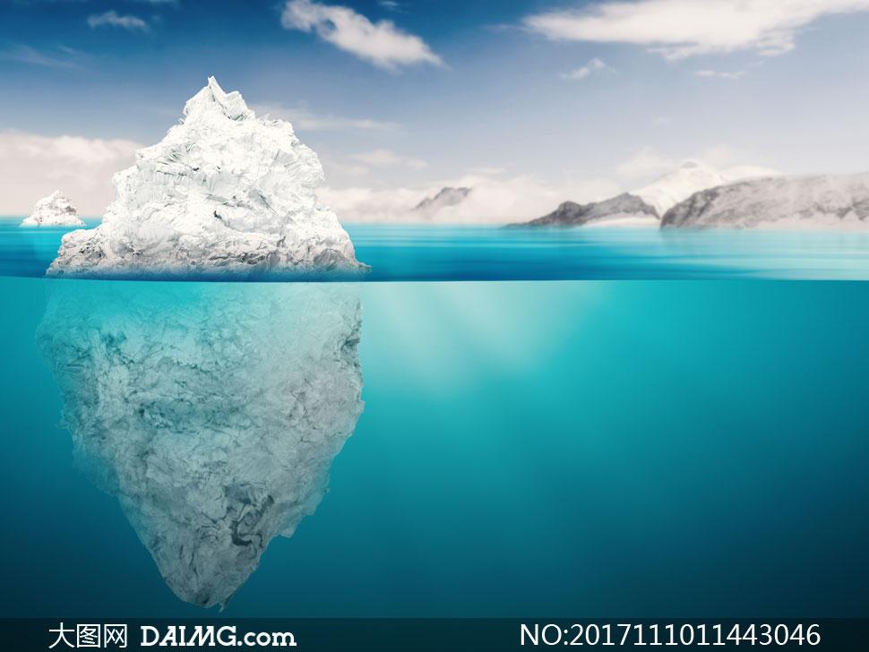 高清摄影大图图片素材自然风景风光蓝天天空云层云彩多云白云冰山大海