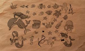 30款卡哇伊主题海底生物PS笔刷