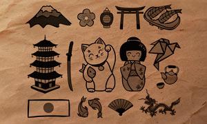 16张日式卡哇伊设计元素PS笔刷