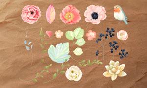 水彩花朵和花枝PS笔刷