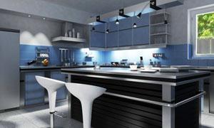 厨房操作台与灯光照明效果高清图片