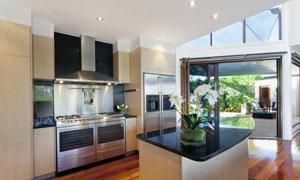 别墅豪华配置厨房内景摄影高清图片