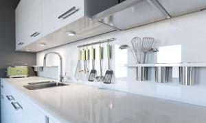 厨房橱柜台面与置物架摄影高清图片