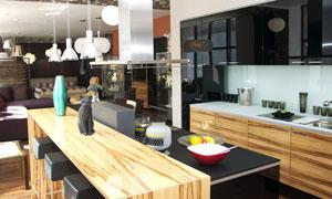 厨房吧台物品陈设布置摄影高清图片