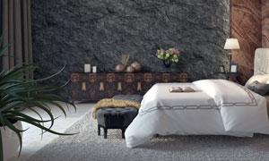 卧室台灯与双人床布置摄影高清图片