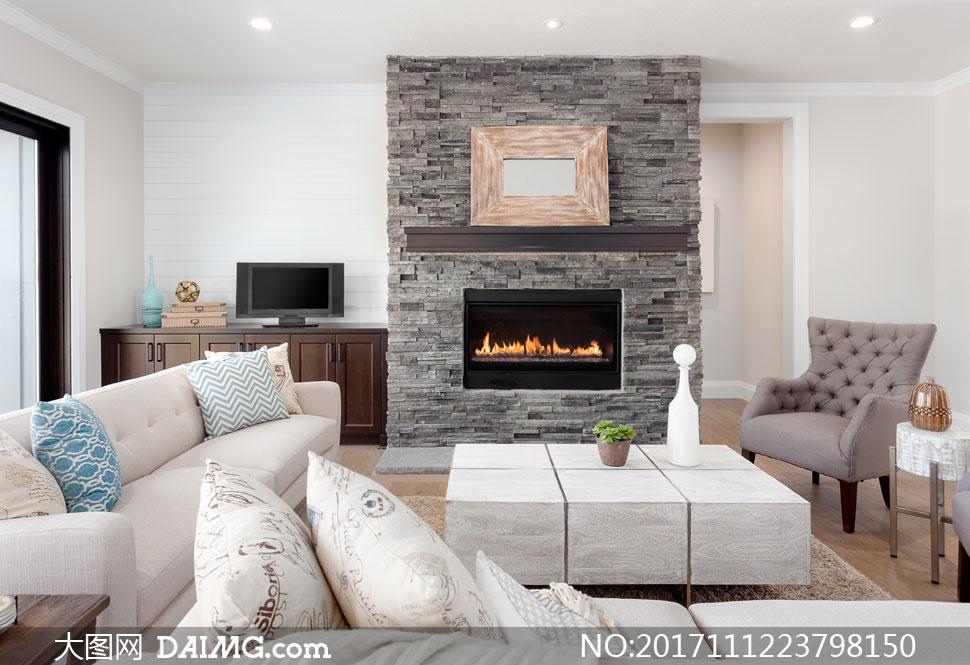 客厅沙发与电视机摆设布置高清图片         简约欧式风格
