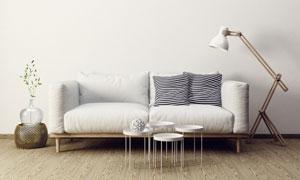 布艺沙发与茶几落地灯摄影高清图片