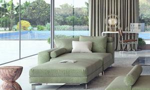客厅沙发与室外露天游泳圈高清图片
