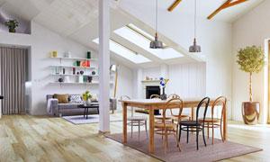 客厅沙发置物架与餐厅布置高清图片