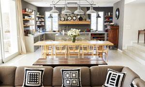 沙发茶几与餐用桌椅等摄影高清图片