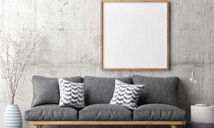 沙发与墙上空白装饰画创意矢量素材