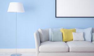 沙发落地灯与空白效果挂画高清图片