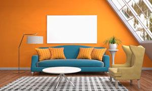 阁楼客厅家具摆设与空白装饰画图片