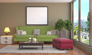 沙发绿植与空白效果的挂画高清图片