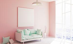 粉色墙上的空白无框画效果高清图片
