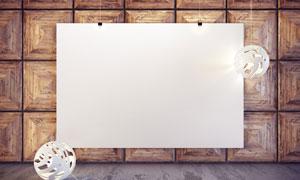空白画框与白色造型灯设计高清图片