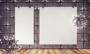 空白挂画与创意造型墙壁等高清图片