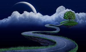 月亮白云与蜿蜒的小路创意高清图片
