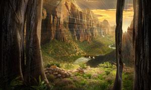 山间峡谷自然风景逆光摄影高清图片