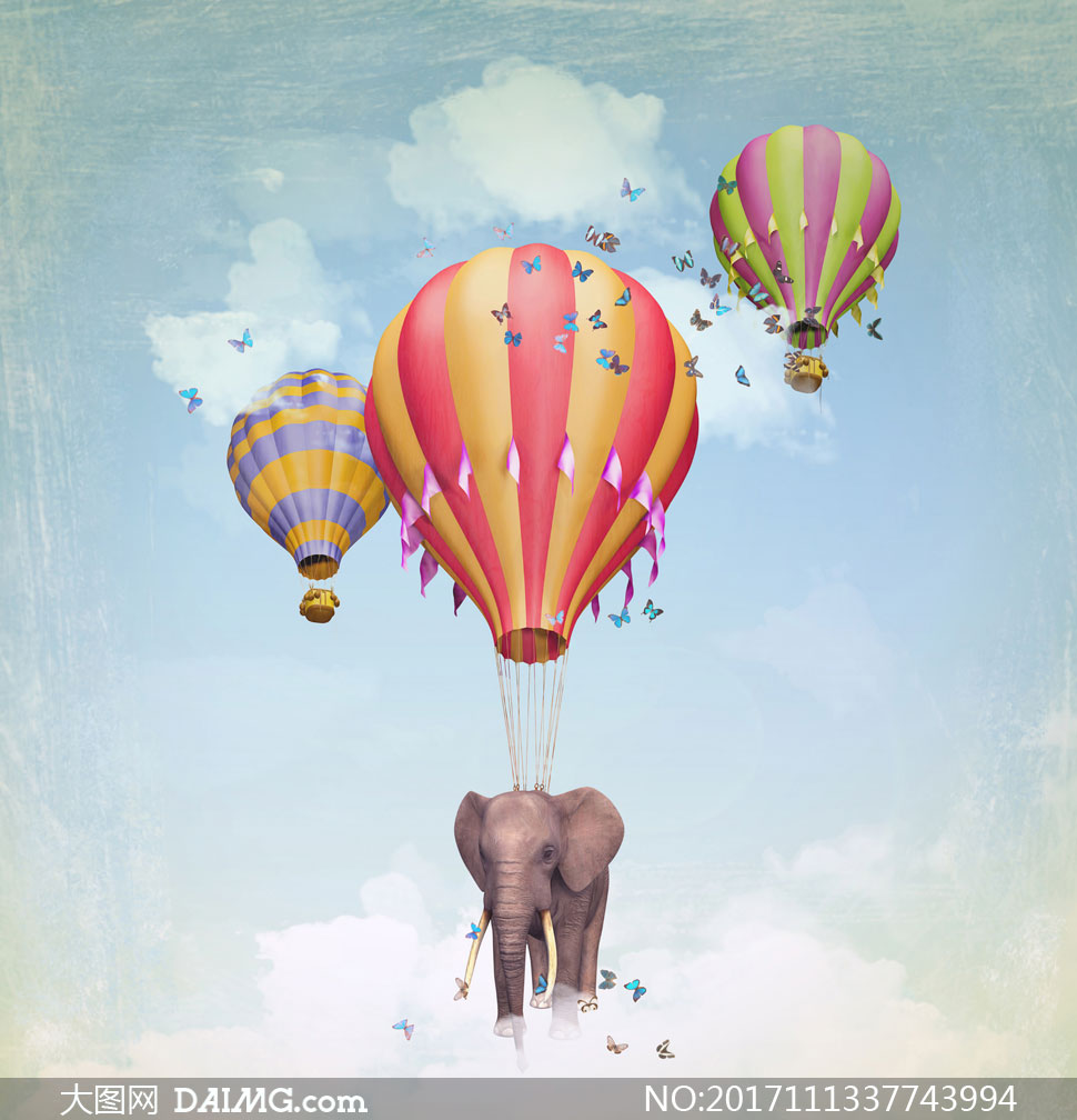 热气球吊起的大象创意设计高清图片