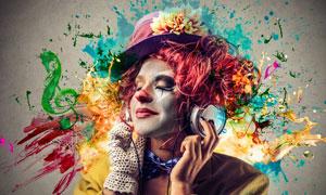 正陶醉在美妙音乐中的人物创意图片