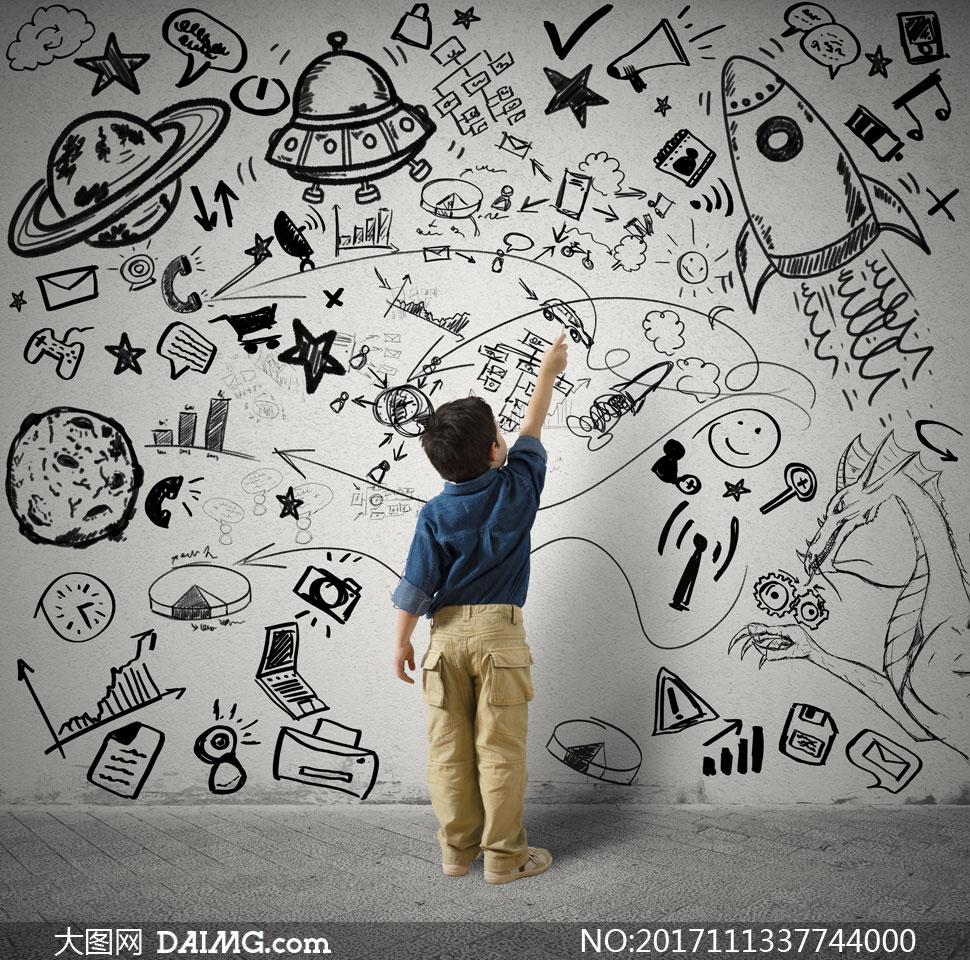 儿童黑白手绘封面