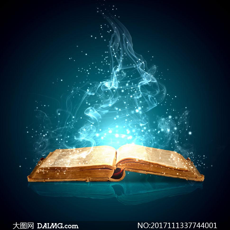 一本散发着魔法的古书创意高清图片