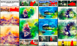 绚丽的水彩画艺术特效PS动作