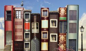 书籍样式房屋微缩效果创意高清图片
