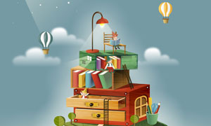 热气球与人物书籍创意插画高清图片