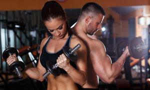 肌肉力量训练健身男女摄影高清图片