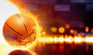带火焰光效的篮球创意视觉高清图片