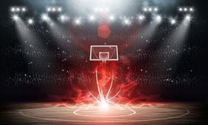 在闪耀灯光下的篮球场创意高清图片