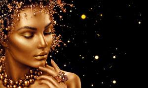 金色皮肤妆容美女人物写真高清图片