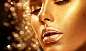 金色皮肤妆容美女特写摄影高清图片