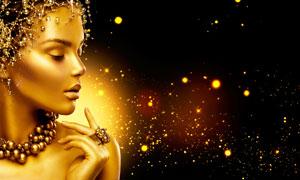 璀璨星光衬托金色妆容美女高清图片