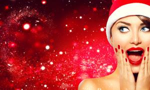 戴着圣诞帽的红唇美女摄影高清图片